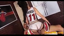 Amy Anderssen with her bodypainted is playing Basketball and fucked hard