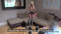 Slim blonde in boots fucks in uk casting