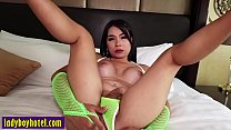 Perverted big tits Asian shemale enjoyed in anal sex