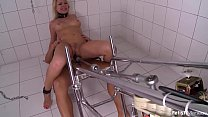 Submissive Lucy Heart chained and fucked hard by machine