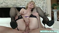 Cocksucking cougar pounded by hard cock