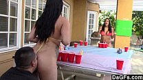 Beer pong game turn in hot sex trip with 2 boot...
