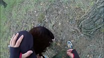 Man forced young girl with long hair sucking cock and fucking in the forest