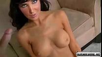 Hot brunette model shows her pink pussy