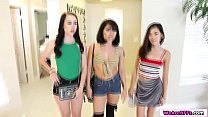 Bambi and her asian bffs share one cock thumbnail
