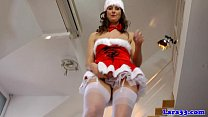 Brit milf in christmas stockings gets cumshot
