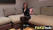 Fake Agent UK Randy brunette takes a big facial...