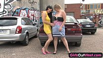 Girls Out West - Busty lesbians at the car park thumbnail