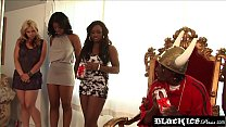 Busty ebony spanks her big ass while bouncing on BBC thumbnail