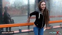British skinny Leyla flashing in London