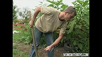 European mom makes her young gardener her sex b...