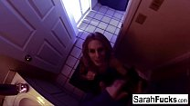 Pornstar Sarah Jessie gives a BJ in the bathroom
