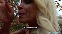 Public Agent Tattooed busty German blonde MILF fucked hard against a tree preview image