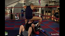 Gay boxing guys having sex in the gym