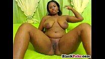 Chunky ebony babe with big tits masturbating