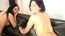 TWO MERRY BRUNETTES ARE TASTING JIZZ IN THREESO...