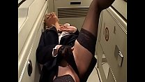 Dirty girl Gloriya got horny and begged her new boyfriend to drill her at the aircraft's bathroom