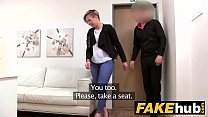 Fake Agent Short haired tattoo babe banged hard...