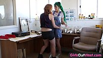 17265 Girls Out West - Hairy lesbian cunts fucked with fingers preview