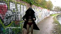 Public flashing of redhead milf Monica exposing tits and peeing outdoors of amat Preview