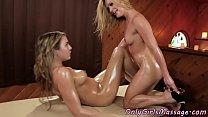 Lesbian masseuse pleasures her client