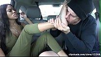 Foot worship in car صورة