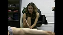 Hot lady boss jerks off her lazy employee