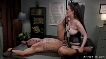 Busty domme pegging tied man