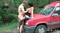 Big boobed french milf hard anal fucked outdoor