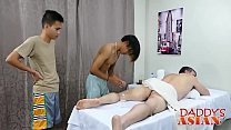 Exotic masseur penetrated in big dick threesome