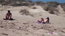 Beach Dogging! Ainara fucks a voyeur and a couple join the fun Image