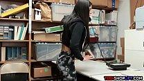 Skinny teen shoplifter latina fucked by security Santa