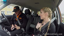 Pigtailed busty blonde bangs driving instructor