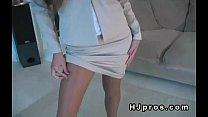 Busty brunette babe in business suit and pantyhose Vorschaubild