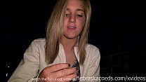 hot blonde masturbating in public on her highsc...