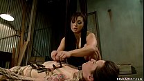 Submissive lesbian anal lezdom fucked