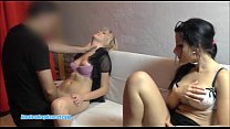 Two teens sharing one cock for BJ and sex preview image