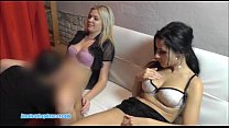 Two teens sharing one cock for BJ and sex