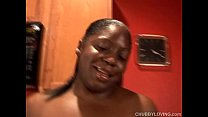 Image: Busty black BBW beauty gets her tits out and has a nice wank