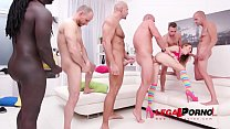 Timea Bella fucked by 1, 2, 3, 4 guys and then anally gangbanged by all 10 of them, with piss finish SZ2201