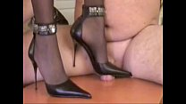 Mistress Tugce Doing Heeljob And Heel Insertion On A Slave With Cock Trampling