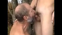Grandpa fucks twink in the woods