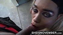 HD Cumshot Cum Swallow Facial Blowjob By Pretty Petite Blonde Hair Ebony In Public POV Tight Lips Sheisnovember