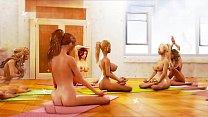 Big tits lesbian futa beauties enjoying yoga ta...