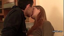 boy gives his submissive teen girlfriend a hard open handed spanking image
