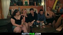 Big tits party leads to plump group gangbang
