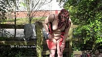 Public masturbation and flashing of british redhead Isabel Dean exposing pussy Preview