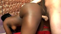 Black babe with a fat ass gets fucked real hard by a white cock