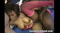 Busty ebony slut on Ghetto Gym Gangbang