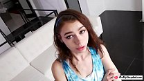 Petite teen Lucy Cline rammed by her dad